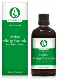 Kiwiherb Herbal Allergy Formula helps balance the immune response underlying allergies, and helps soothe and clear the eyes and nose.  100ml