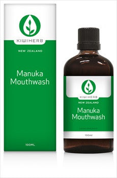 Kiwiherb Manuka Mouthwash is a natural herbal mouthwash made from New Zealand native Manuka and Tanekaha, which helps to kill the odour-causing bacteria that cause bad breath. 100ml