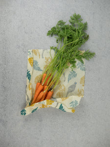 Honeywrap - Reusable Food Wrap. Forest Design with Carrots.