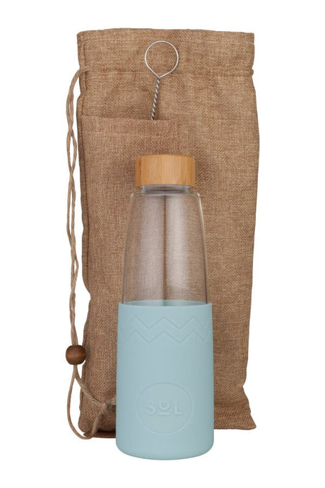 Sol Glass Water Bottle in Cool Cyan