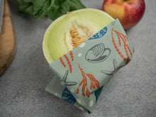 Honeywrap - Reusable Food Wrap. Ocean in Large or Extra Large Covering a Green Melon.