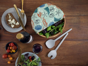 Honeywrap - Reusable Food Wrap. Ocean Design Covering a Salad Bowl