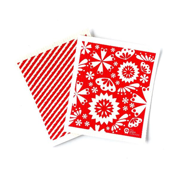 SPRUCE are made from 100% natural and renewable materials: cellulose blended with cotton. Set of 2 Red Designs.