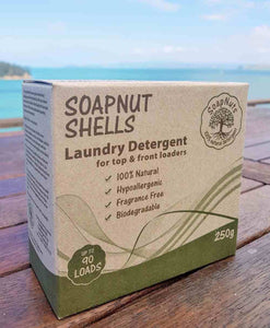 A highly effective, 100% biodegradable, economical laundry option! SoapNuts last for 5 washes so a 250g box will last approx. 90 loads!