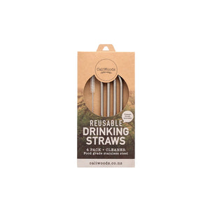 CaliWoods Stainless Steel Bent Drinking Straws