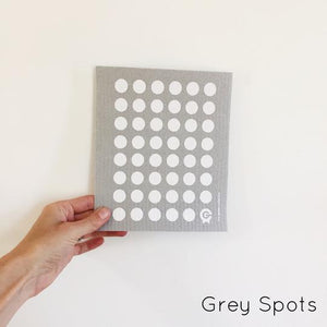 SPRUCE. A super star eco friendly dishcloth doing good things for the planet. In Grey Spots Design.