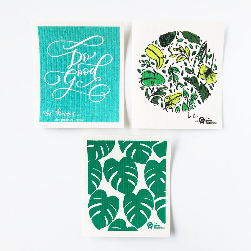 SPRUCE are made from 100% natural and renewable materials: cellulose blended with cotton. Set of 3 Green designs.