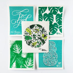 SPRUCE are made from 100% natural and renewable materials: cellulose blended with cotton. Set of 5 Green designs.
