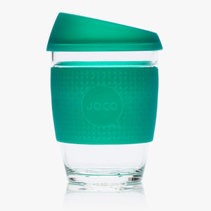 Joco reusable coffee cup 12oz in Deep Teal Seaglass made from silicone and toughened glass