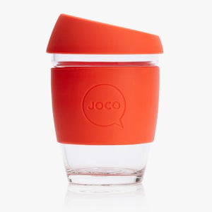 Joco reusable coffee cup 12oz in Orange made from silicone and toughened glass