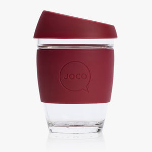Joco reusable coffee cup 12oz in Ruby Wine made from silicone and toughened glass