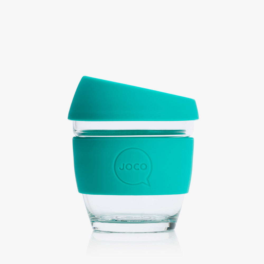 Joco reusable coffee cup 8oz in Mint made from silicone and toughened glass.