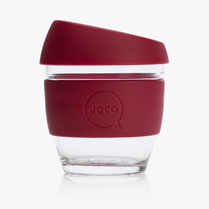 Joco reusable coffee cup 8oz in Ruby Wine made from silicone and toughened glass