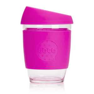 Joco reusable coffee cup 12oz in Pink made from silicone and toughened glass