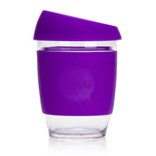 Joco reusable coffee cup 12oz in Purple made from silicone and toughened glass