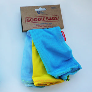 Goodie Bag Set of 3 - light blue, yellow, mid blue.