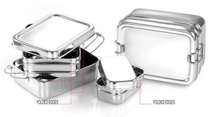 Meals in Steel Stainless Steel Lunchbox: Large double layered: 18 x 13 x 9 cm - also contains a mini snack box container