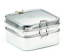 Meals in Steel Stainless Steel Lunchbox: Square double layered: 13 x 13 x 7.5 cm