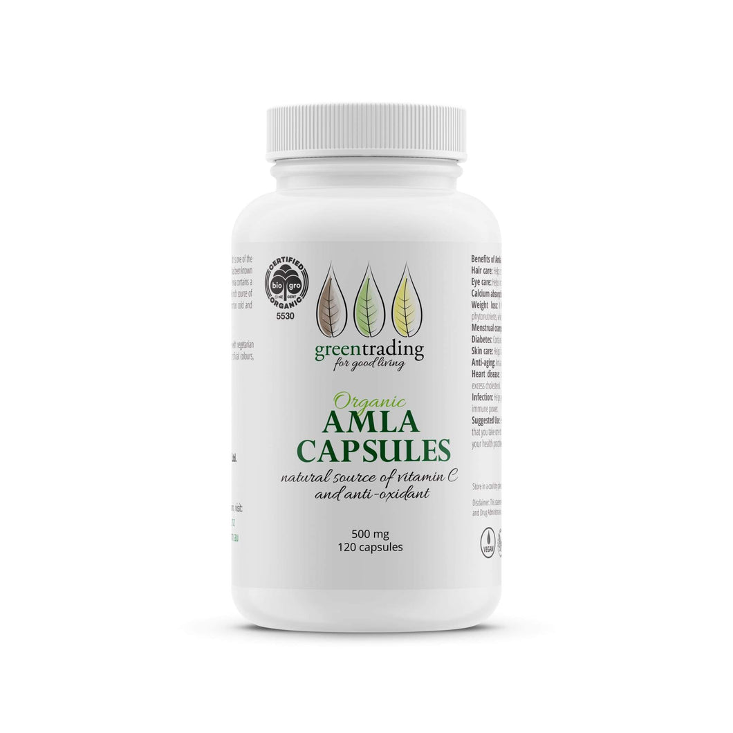 Green Trading's Oragnic Amla Capsules are an extremely rich source of natural vitamin C and antioxidants.