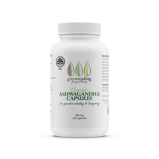 Green Trading Organic Ashwagandha Capsules alleviate symptoms like stress, fatigue. They support an energetic and rejuvenating sense of wellbeing.