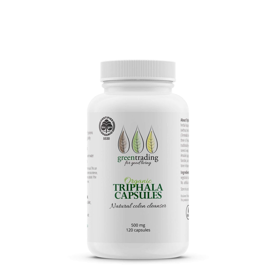 Green Trading Organic Triphala Capsules contain a powerful rejuvenating & detoxifying formulation that cleanses the colon and supports the entire GI track, improving digestion, assimilation of nutrients, and elimination.