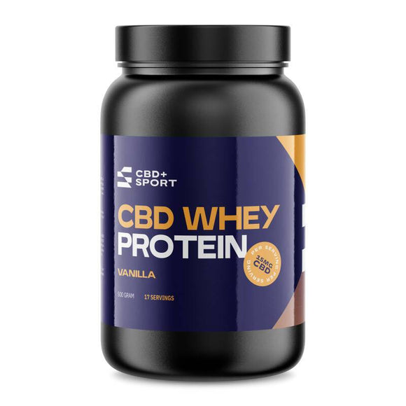 CBD en SPORT | Whey Proteïne| Vanille | 15 Mg CBD per scoop | 500 Gram | 17 servings | Post Workout