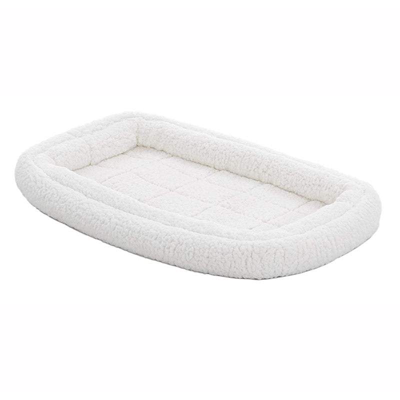 Quiet Time Deluxe Fleece Double Bolster Bed White - 24 inch