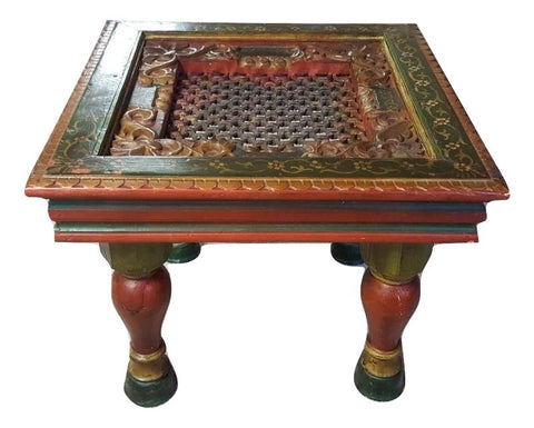 Handmade Hand Painted Wooden Carved Traditional Coffee Table Favors Handicraft