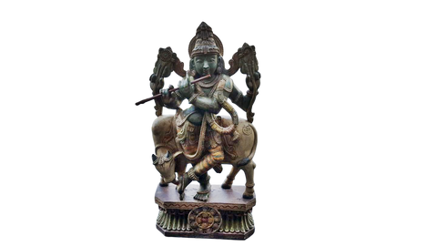 Hindu God Krishna with Cow Wooden Big Statue