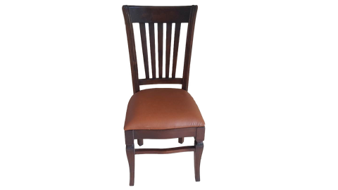 Hand Carved Teak Wood Leather Dining Chairs - Set of 6