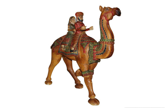 Wooden Carved Hand Painted Dhola Maru - Big Camel with Riders