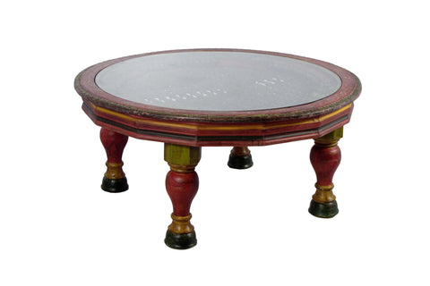Handmade Round coffee table with Hand riveted iron grill top