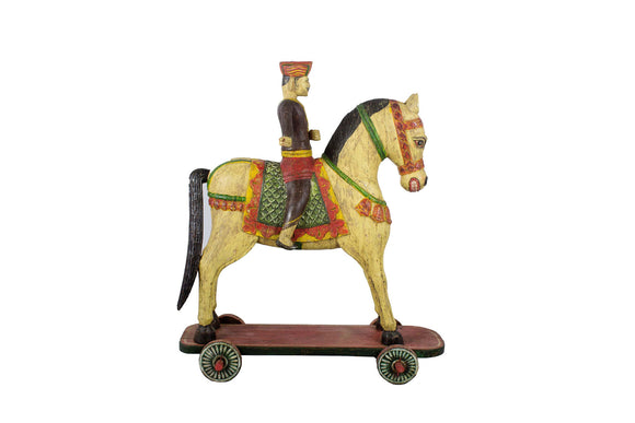 Handmade Wooden Fighter Horse With Rider  4ft