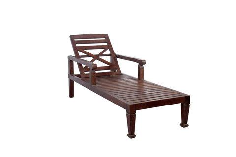 SOLID TEAK WOOD BEACH CHAISE LOUNGE CHAIR - DARK WOOD FINISH