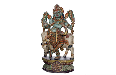 Hindu God Krishna with Cow Wooden Hand Painted Big Statue