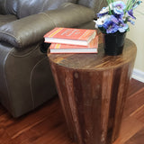 Rustic Reclaimed round cone shaped 18 inch Side table | Accent Table | End Table