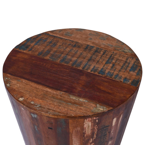 Reclaimed Rustic Barrel Stool End Table