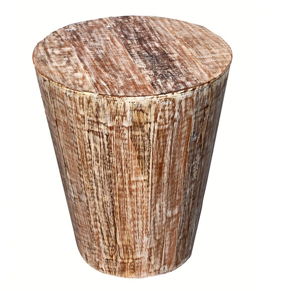 Distressed Reclaimed round cone shaped 18 inch Side table | Accent Table | End Table