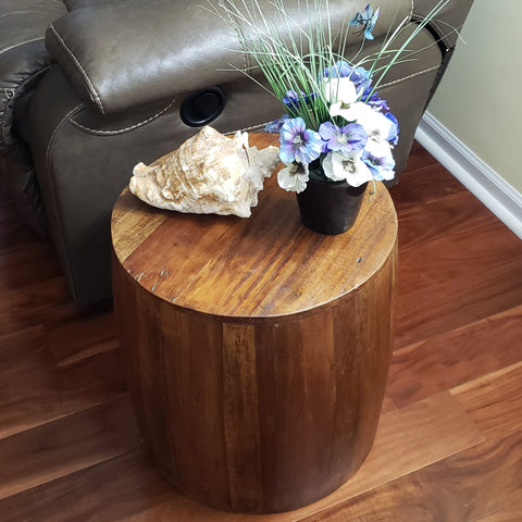 Reclaimed Wood Drum Barrel Style Side Table Stool