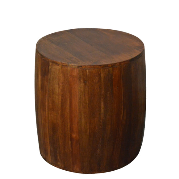 Reclaimed round drum barrel 18 inch Side table | Accent Table | End Table