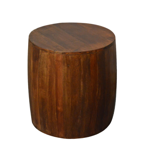 Recycled Wood Rustic Natural Brown finish Handmade Wooden Round Drum Stump Stool Side Table 18