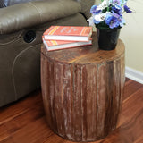 Rustic Reclaimed round drum barrel 18 inch Side table | Accent Table | End Table