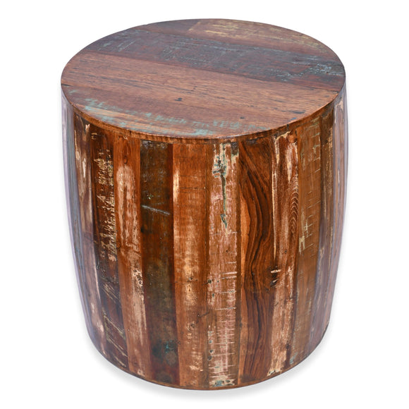 Reclaimed Drum Barrel Shaped 18 Inch Side Table / End Table / Accent Table For Living Room