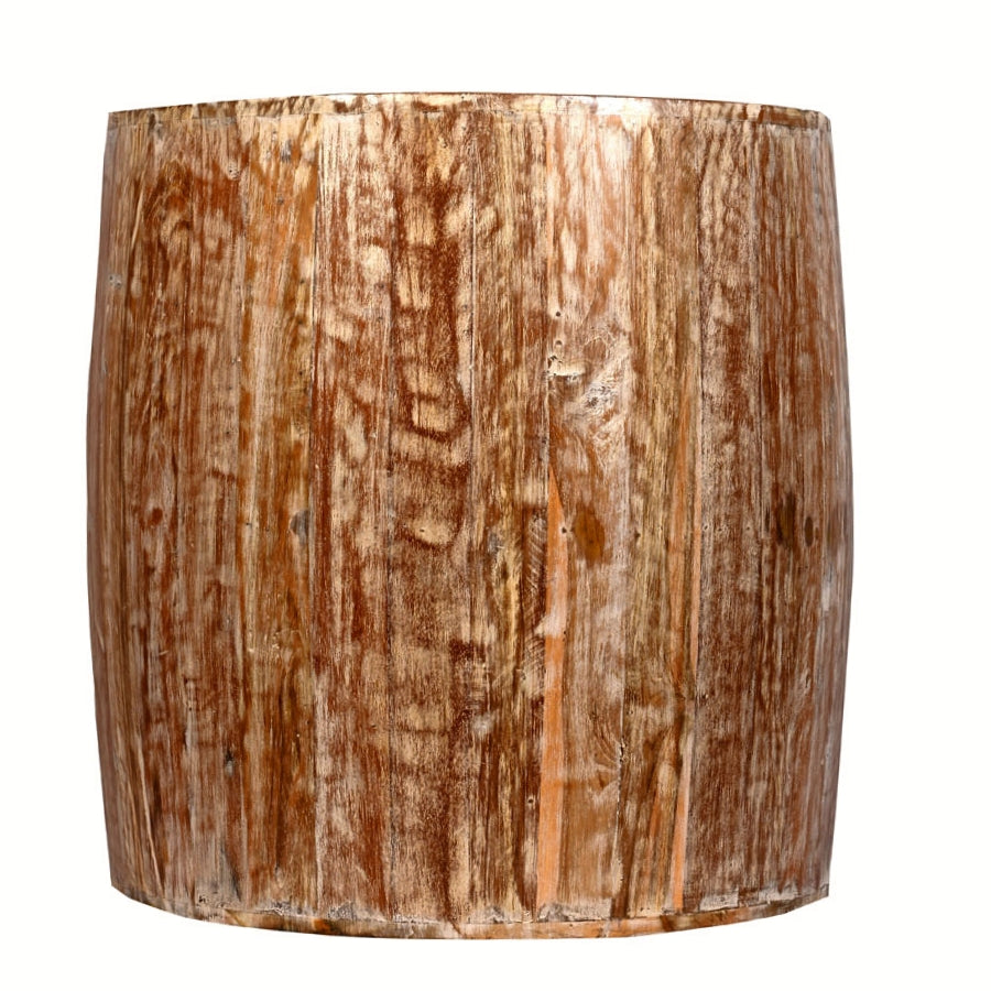Distressed White Reclaimed Wood Drum Barrel Style Side