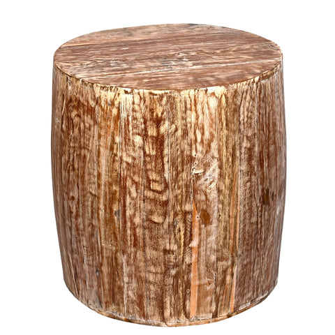 Distressed White Reclaimed Wood  Drum Barrel Style Side Table Stool