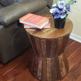 Reclaimed Round Hourglass Shaped 18 inch Side table | Accent Table | End Table