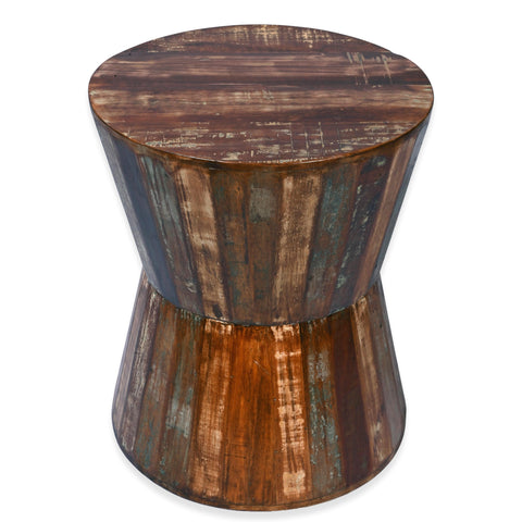 Recycled Wood Rustic Natural finish Handmade Wooden Hourglass Twisted Round Stool Side Table 21
