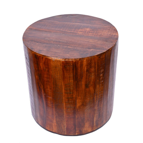 Recycled Wood Rustic Natural Brown finish Handmade Wooden Round Stump Stool Side Table 18