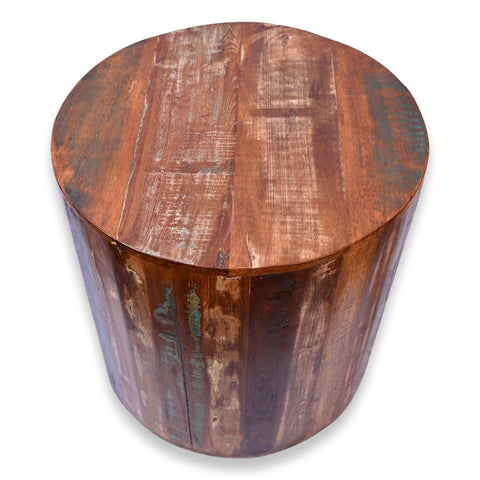Reclaimed Wood Rustic Round Stool  Side Table