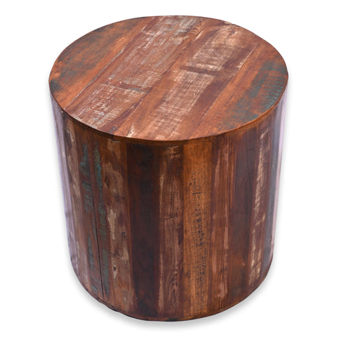 Recycled Wood Rustic Natural finish Handmade Wooden Round Stump Stool Side Table 18